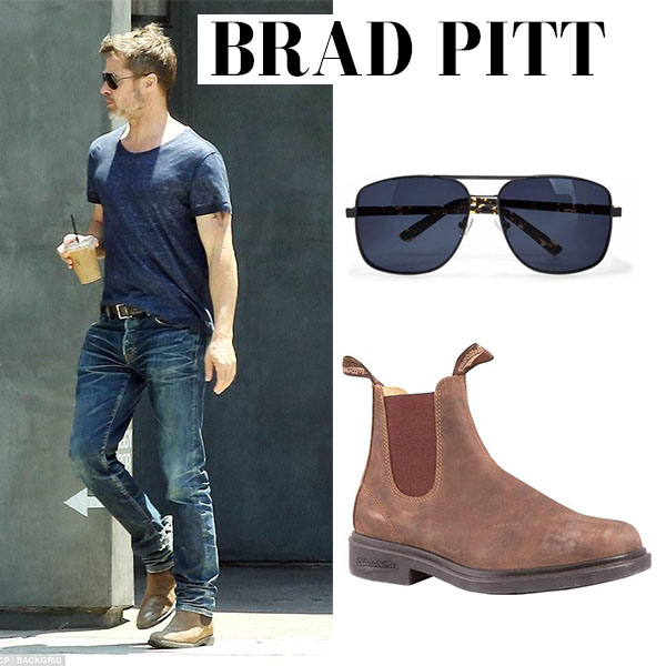 Brad Pitt in brown leather boots blundstone july 2017 men's celebrity shoes