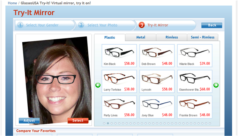 """9d68fa842de ... virtual mirror where you can upload a photo and """"try on"""" the glasses  until you find the one that looks best on you. Check out the frames I found  using ..."""