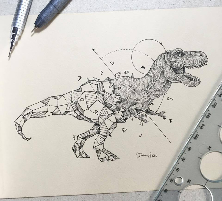 13-Dinosaur-Tyrannosaurus-Rex-T-Rex-Kerby-Rosanes-Geometry-Coupled-with-Detailed-Drawings-of-Animals-www-designstack-co