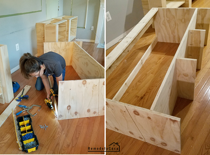 Cristina Garay using Compact DeWalt drill/driver to built shelves in family room