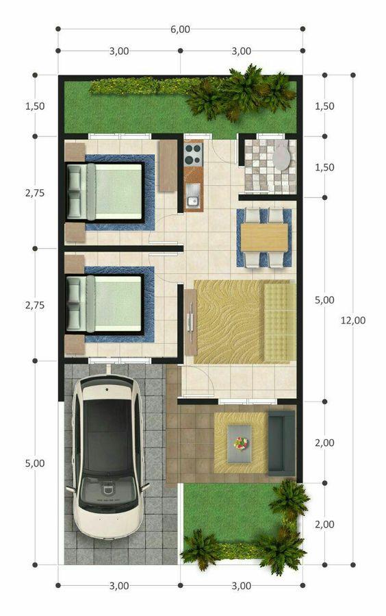 Contoh Denah Rumah Persegi Panjang koleksi denah rumah minimalis ukuran 6x12 meter