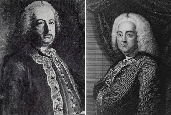 Leading men of Baroque opera: composers NICOLA ANTONIO PORPORA (left) and GEORG FRIEDRICH HÄNDEL (right) in Eighteenth-Century engravings