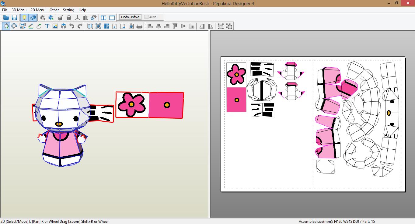Own this kawaii hello kitty paper craft: free printable template.