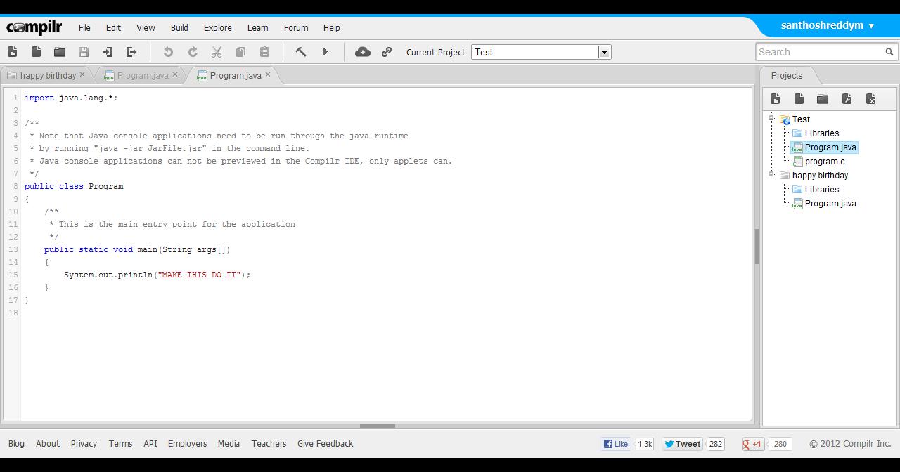 Develop, Compile & Run a C/C++/Java program online