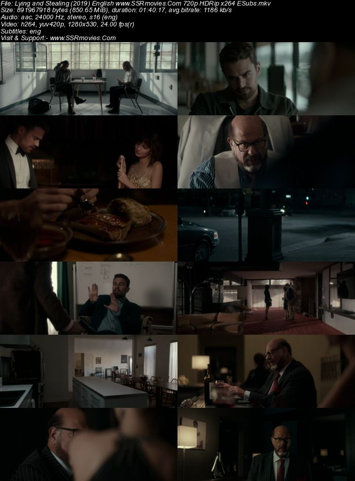 Lying and Stealing (2019) English 720p HDRip x264 850MB ESubs Movie Download