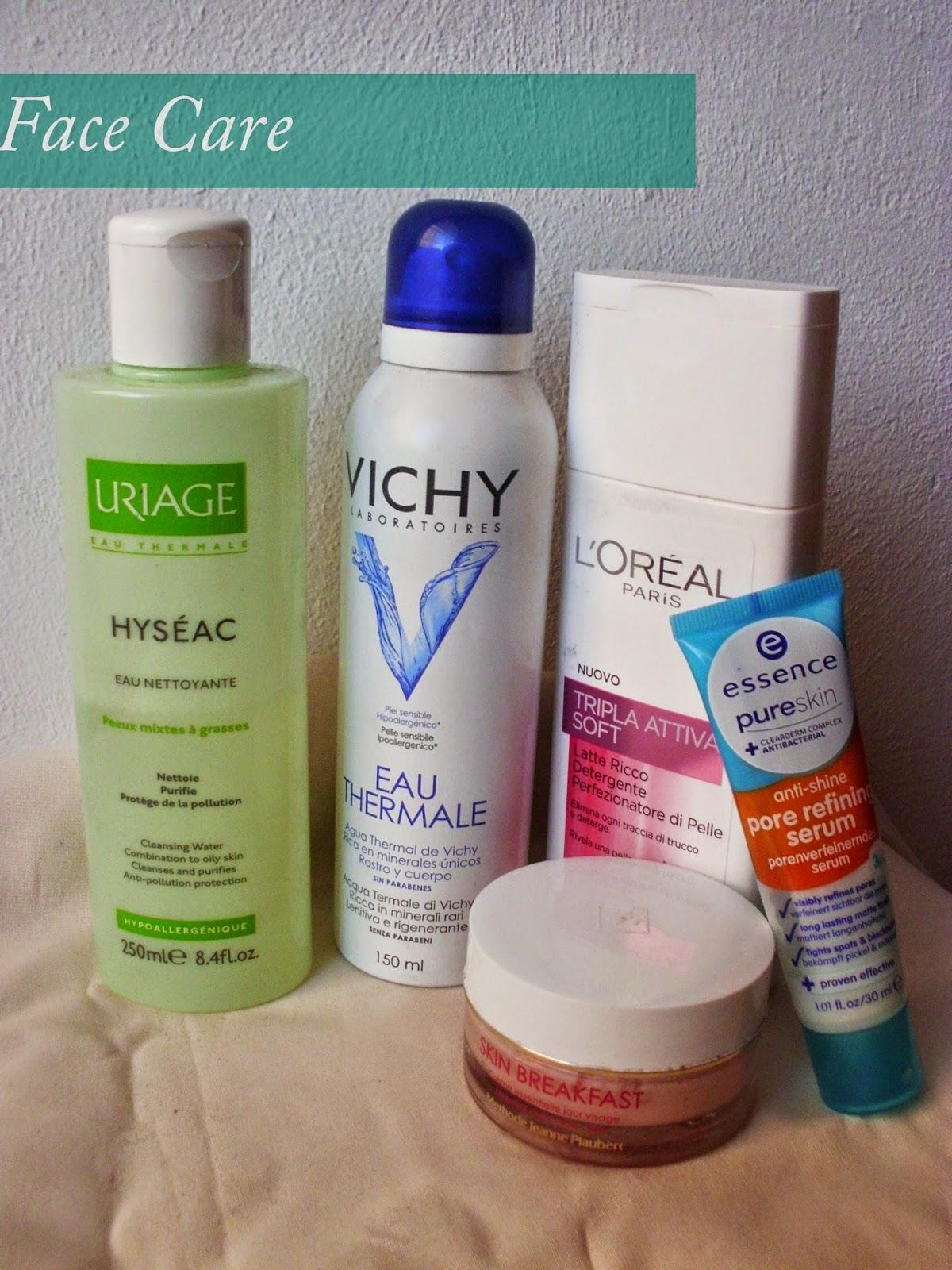 Skincare, Uriage Hyséac Eau Nettoyante, Vichy Eau Thermale, L'Oréal Paris Tripla Attiva Soft Latte Ricco Detergente, Essence Pure Skin Anti-Shine Pore Refine Serum