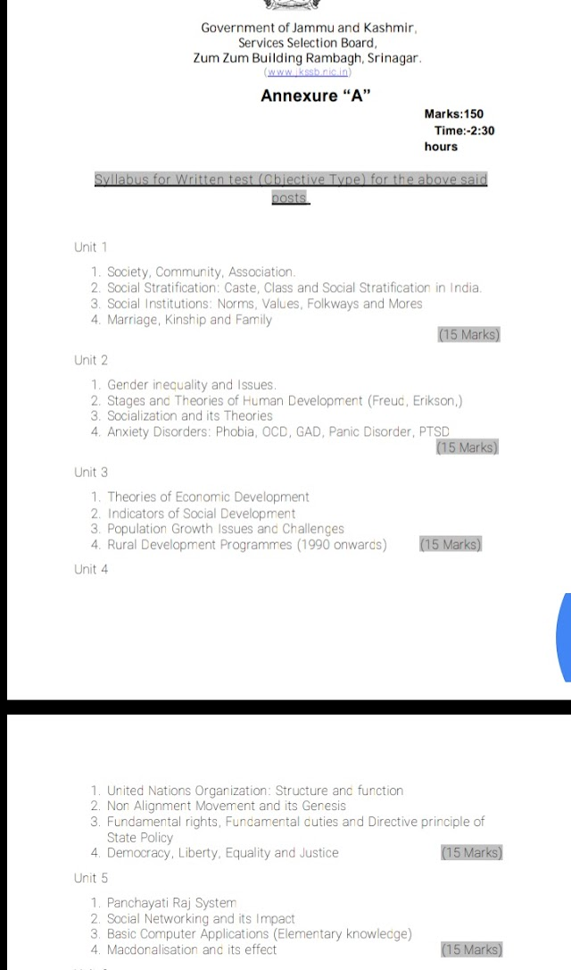 Jkssb syllabus for the post of Supervisor social welfare Department