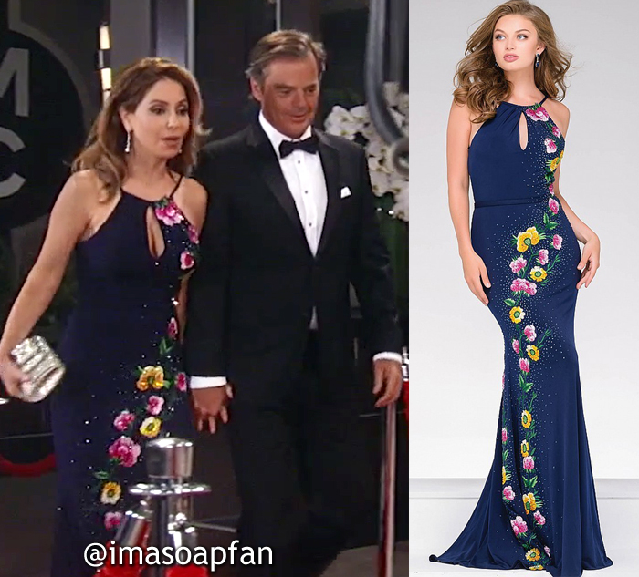 Olivia Falconeri, Lisa LoCicero, Navy Blue Gown with Pink and Yellow Floral Appliques, Jovani, Nurses Ball, GH, General Hospital, Season 55, Episode 05/25/17