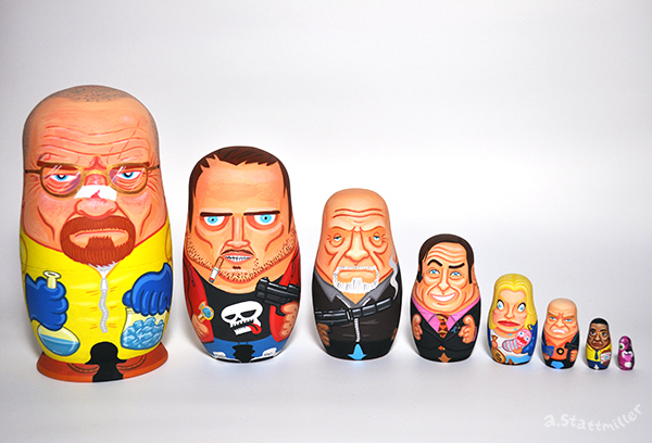 Green Pear Diaries, ilustraciones, matrioskas, Andy Stattmiller, Matryoshka Mania, Breaking Bad