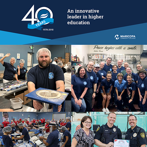 40th anniversary banner with Rio Salado logo and text: An innovative leader in higher education.  Montage of images of Rio Salado employees volunteering their time.