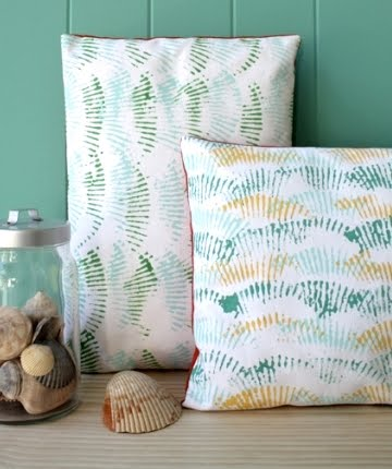 shell print pillows