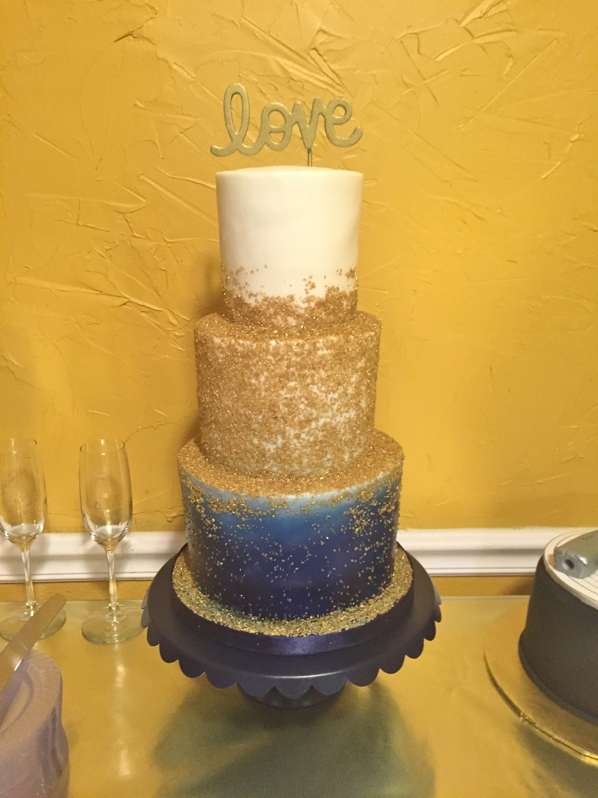 Cakes by Mindy: Navy and Gold Wedding Cake 4\
