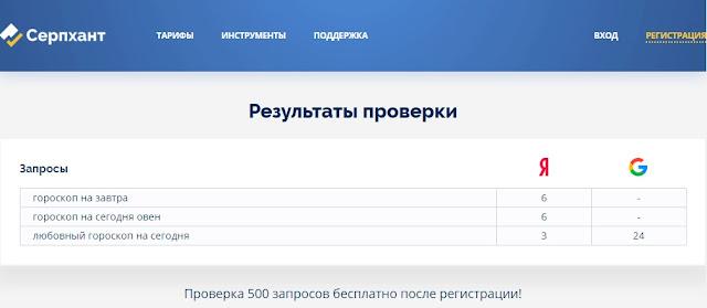 Бесплатная проверка позиций Серпхант