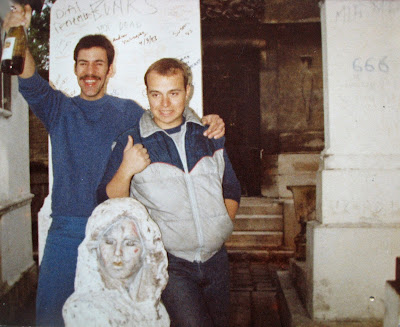 Tommy Mondello & Billy Scire at Jim Morrison's grave side May 4, 1983