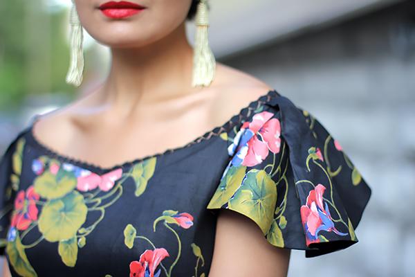 floral dress details]