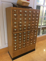Photograph of the entire Dartmouth newspaper card catalog in Rauner Library's reading room.