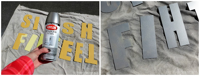 spray painting a faux metal finish