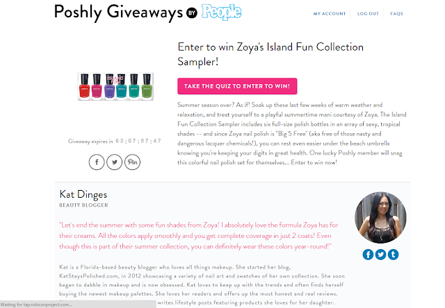 Poshly Giveaways - People Magazine - Zoya Island Fun | Kat Stays Polished