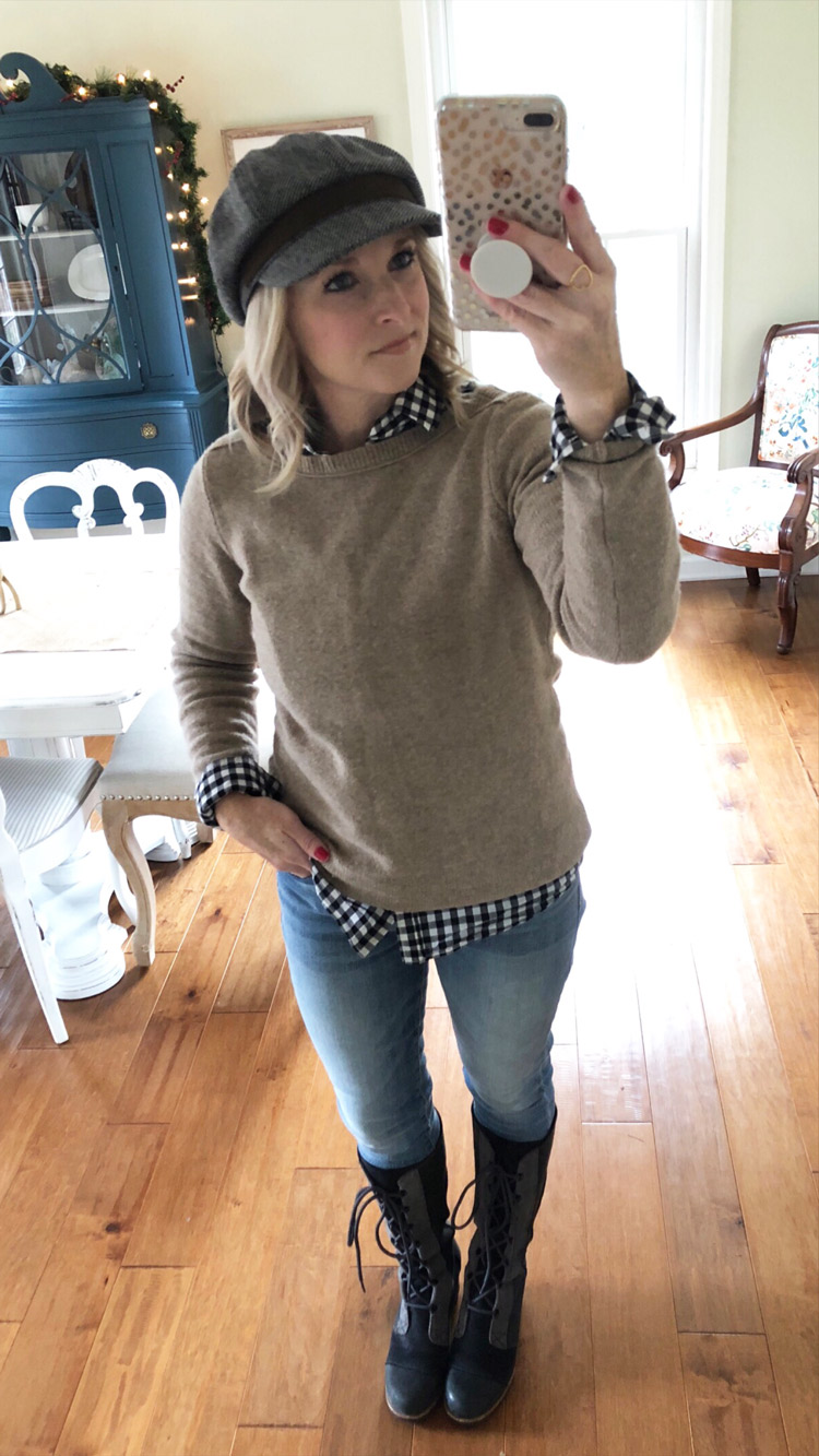 casual style with beige sweater, skinny jeans and sorel boots