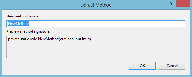 Extract method window in visual studio