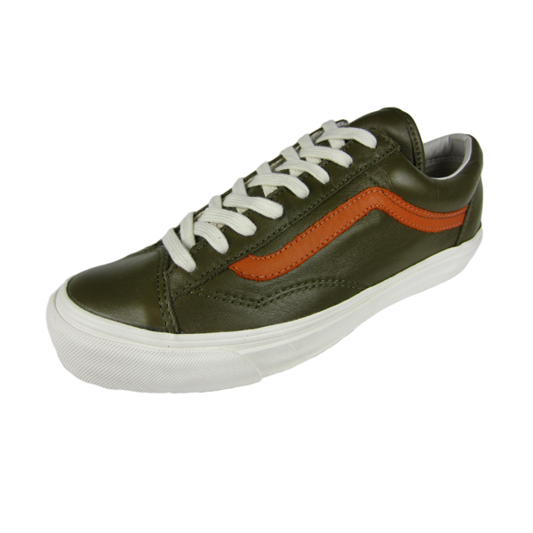 1e5e0a37f5 Vans Vault OG Style 36 LX. (Premium Leather) Military Olive Gold Flame.  VN000SF5FKJ