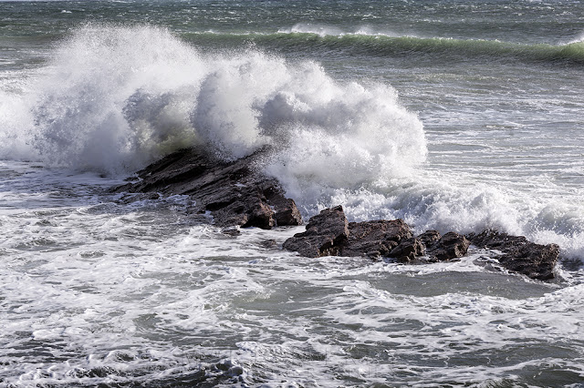 Peveril Point on the Jurassic Coast with waves smashing against rocks