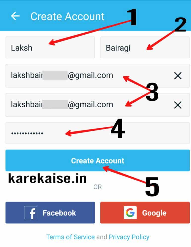 Wish app par account create kare