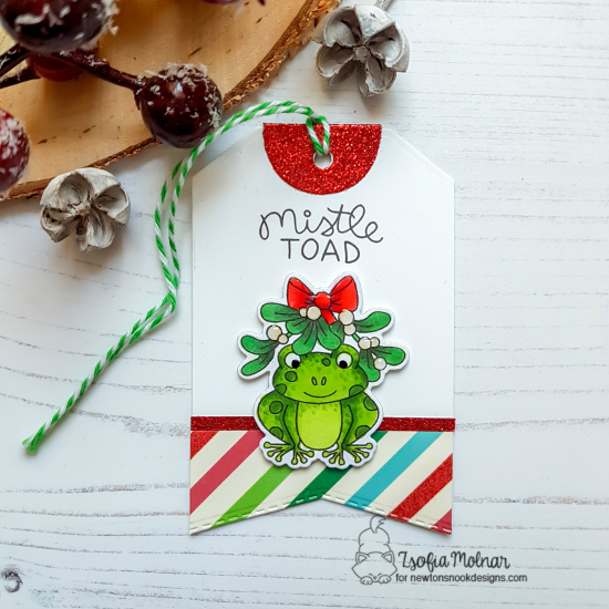Toad Christmas Tag by Zsofia Molnar | Mistle Toad Stamp Set and Fancy Edges Tag Die Set by Newton's Nook Designs #newtonsnook #handmade