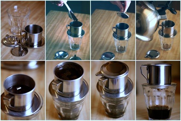Image source:  Ca Phe Sua Nong is brewed with a small metal French drip filter
