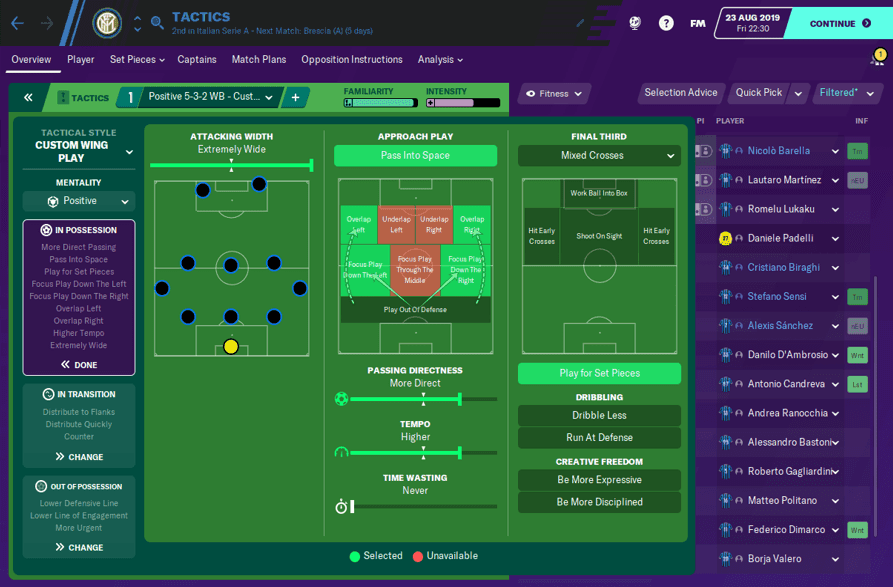 FM20 Inter Tactic In Possession
