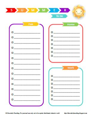 Summer To Do List printable - Disorderly Teaching