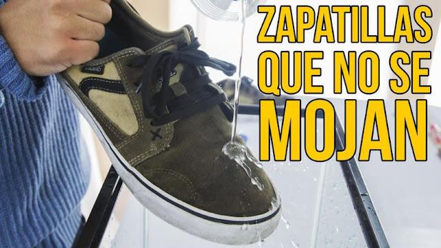 Zapatillas, tela, impermeable