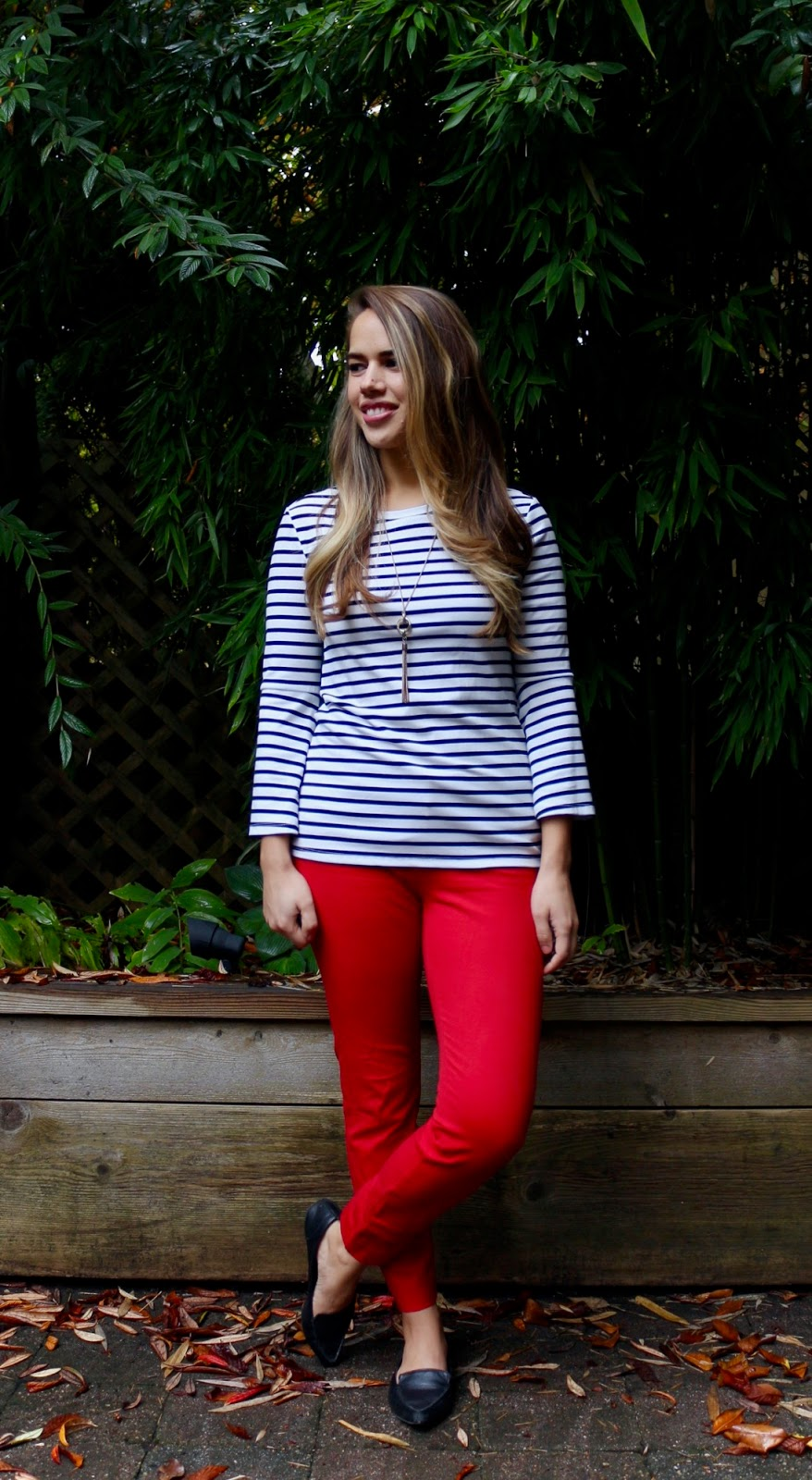 Jules in Flats - Striped Bell-Sleeve Top with Red Ankle Pants (Business Casual Fall Workwear on a Budget)