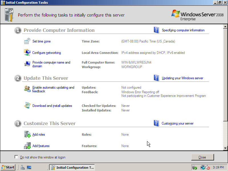 Cài đặt windows server 2008 - Initial Configuration Tasks