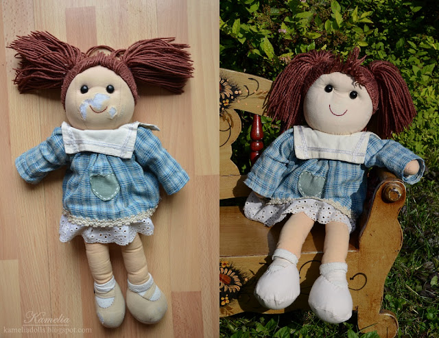 How to fix a face in cloth doll