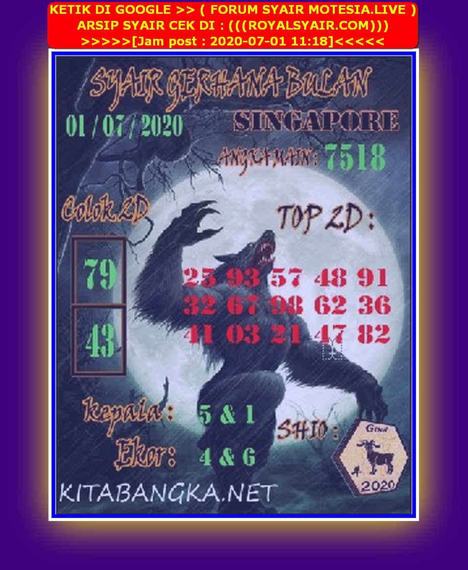 Kode syair Singapore Rabu 1 Juli 2020 92
