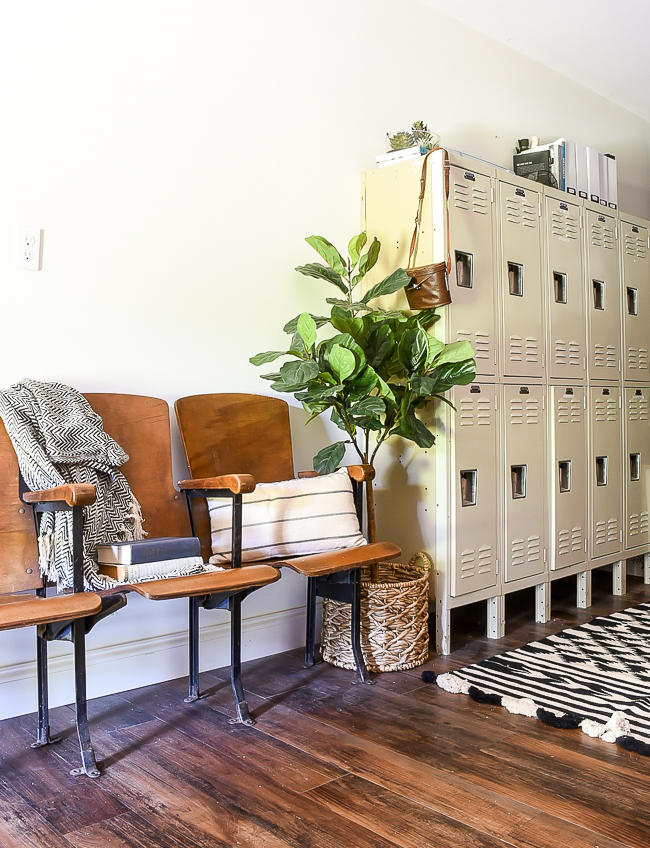 vintage theatre chairs and lockers in modern industrial farmhouse office