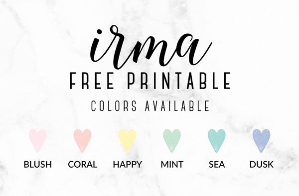 Free printable irma weekly planners