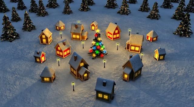 Kerst afbeelding met huisjes en kerstbomen