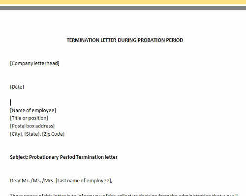 Termination Letter During Probation Period