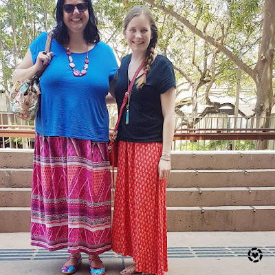 two fashion bloggers printed maxi skirts plain tees colourful spring SAHM style outfit | awayfromtheblue