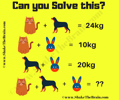 In this Maths Picture Puzzle, your challenge is to find the value of each animal from the given weight equations