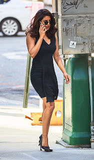 Priyanka Chopra Spotted shooting for Quantico in Sexy Short Black Deep neck Dress
