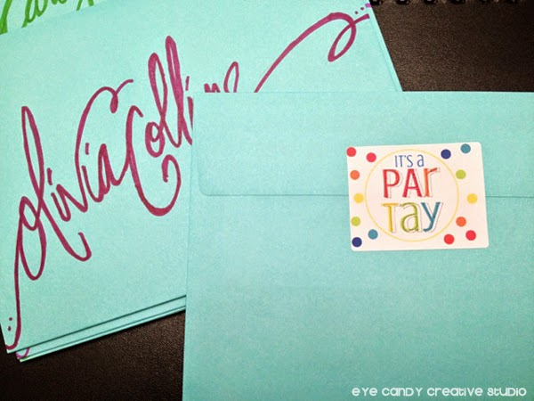 it's a party labels, online labels, party labels, hand lettered envelopes