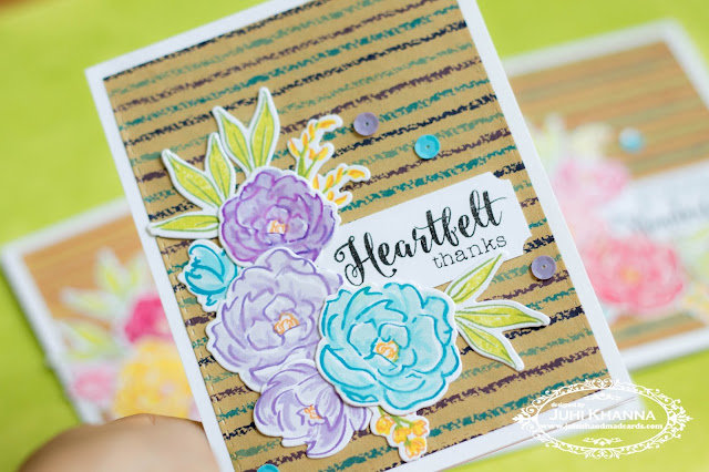 Hand stamped card with patterned paper and #wplus9 pretty peonies.