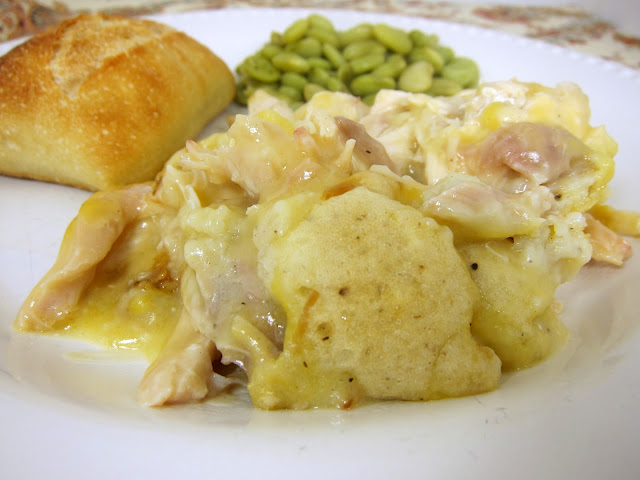 Chicken & Dumpling Casserole - use rotisserie chicken for a simple weeknight meal. Chicken, chicken broth, butter, flour, baking powder, salt, milk and cream of chicken soup. Can also use leftover holiday turkey. Guaranteed to have your kids asking for seconds!
