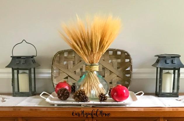 wheat decor faux pomegranates pine cones tobacco basket