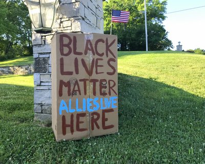 My hand-painted sign, Black Lives Matter (Allies Live) Here.