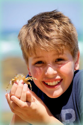 a boy holding a crab is a cheap activity for family vacation