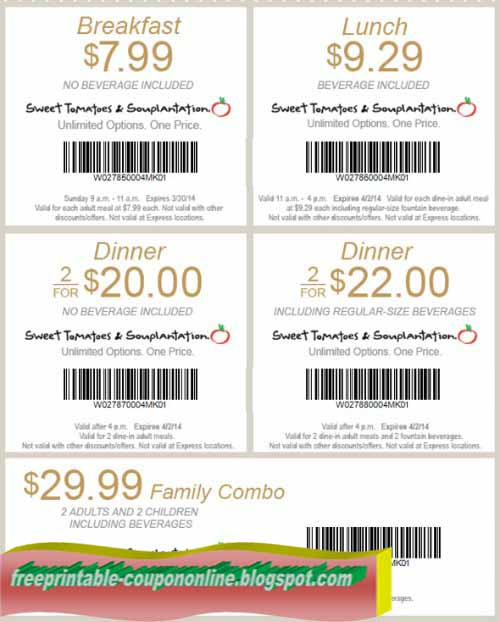 Print out coupons for Souplantation & Sweet Tomatoes. BeFrugal updates printable coupons for Souplantation & Sweet Tomatoes every day. Print the coupons below and take to a participating Souplantation & Sweet Tomatoes to save.